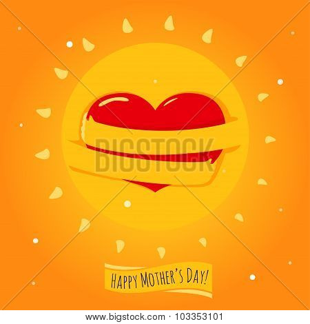 Romantic and love illustration of the sun with his hands, that hugs heart. Greeting Card for Happy M
