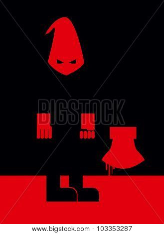 Executioner In Mask And With An Axe. Scary Punisher Stands In  Blood At Night. Vector Illustration O