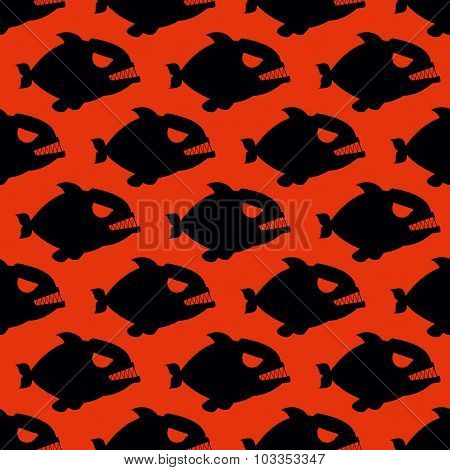 Aggressive Seamless Pattern From Piranha. Fish Silhouettes With Large Teeth On Red Bloody Background