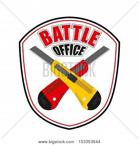 Office Battle Emblem. Two Crossed Stationery Knife. Logo For Corporate Entertainment.