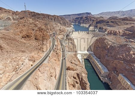 Panoramc Picture Of The Hoover Dam, Usa.