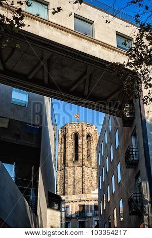 Tower of basilica of Santa Maria del Pi in Barcelona