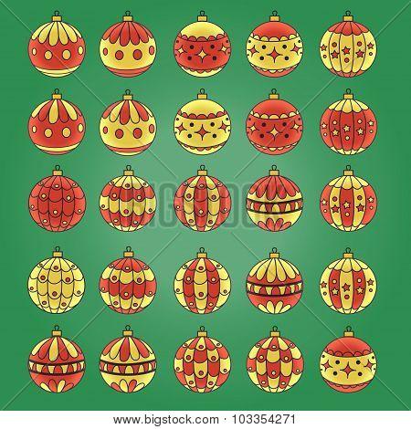 Vector illustration with Christmas balls.