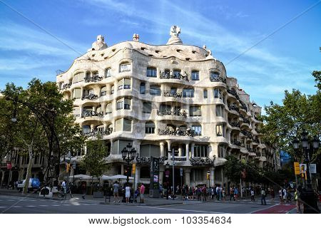 Evening View Of Casa Mila, Barcelona