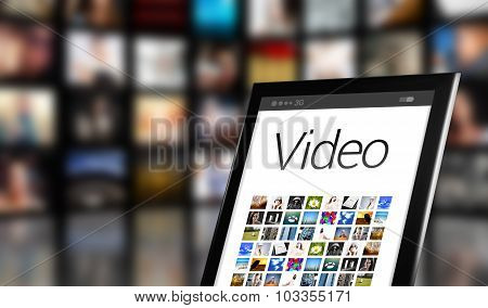 Video Concept, Tablet With Many Icons
