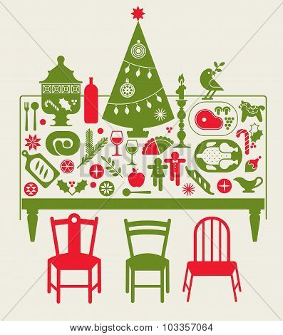 Composition With Christmas Dinner