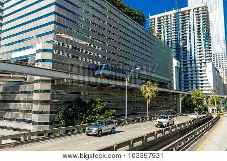 MIAMI, USA - CIRCA MAY 2015: Brickell district in Miami downtown in Florida, USA