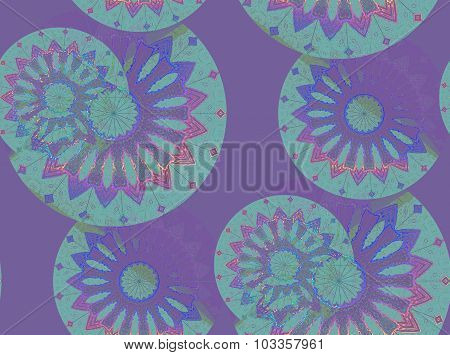 Seamless floral pattern purple green