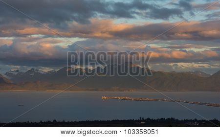 Homer Spit Under Sunset Lite Clouds