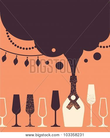 Composition With Champaign And Glasses.