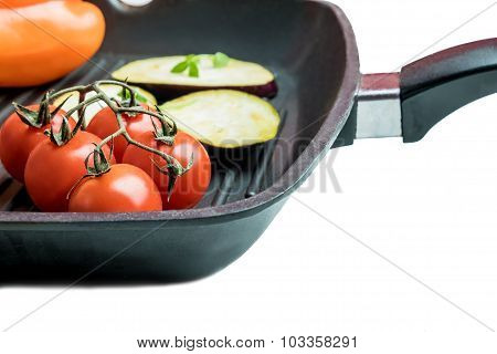 Fresh Vegetables On A Grill Plate