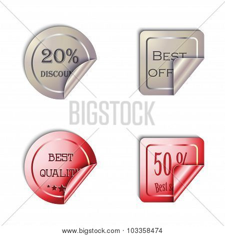Metal Stickers vector set on a white background.. EPS