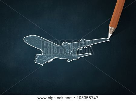 Pencil drawing sketch of airplane on color background