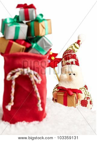 New Year 2016. Merry Christmas. Santa Claus and sack of presents