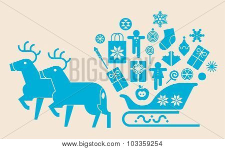 Sleigh silhuette With Gifts
