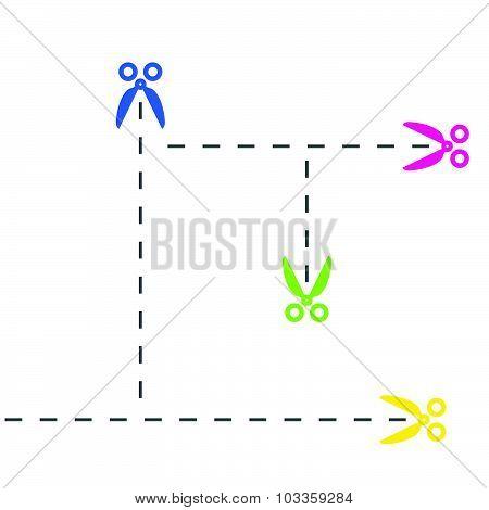 Cut Lines And Scissors Vector Illustration