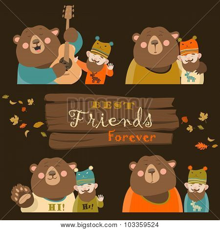 Funny bear and man are the best friends