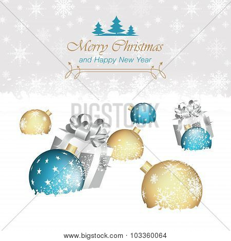 Christmas background, baubles, snowflakes and gift boxes.