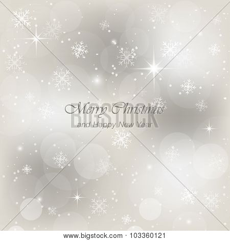 Christmas greeting card with snow, flakes and glow