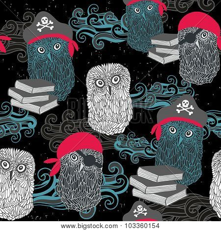 Seamless pattern with owl pirates.