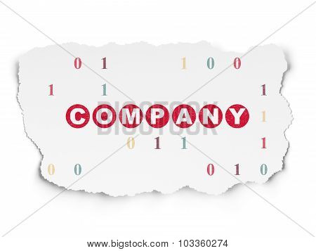 Finance concept: Company on Torn Paper background