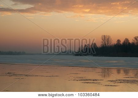Poland.winter Dawn On The River.horizontal.