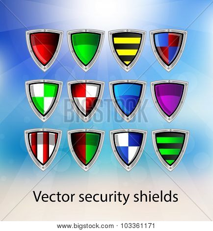 Set Of Vector Security Shields