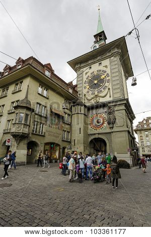 The East Front Of The Clock Tower In Bern