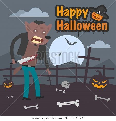 Illustration Halloween werewolf holding knife