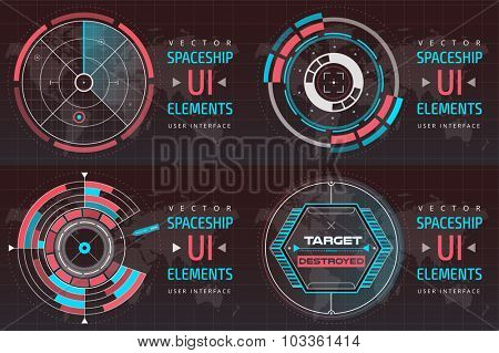 UI hud infographic interface screen monitor radar set web elements. Futuristic space thin HUD user interface. Web UI interface elements,UI elements, UI design, UI vector icons.Game target radar map