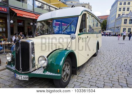 The Historic Bus Swiss Company Saurer In Dresden