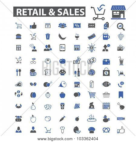 retail, sales, shopping icons
