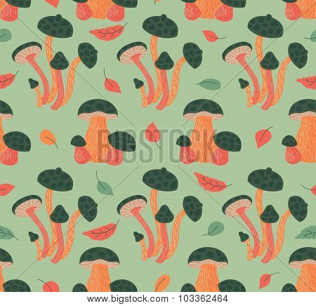 Seamless Pattern With Autumn Leaves And Mushrooms