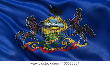 US state flag of Pennsylvania waving in the wind with high quality texture