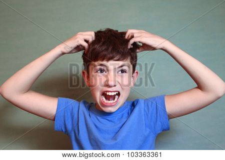 Boy Scratch His Head Isolated On Blue