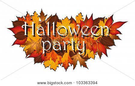 Halloween party on autumn leaves