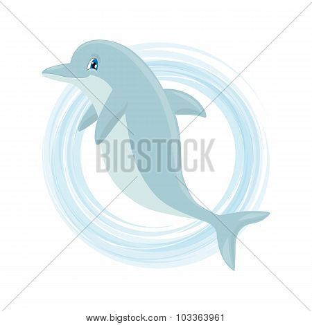 Cute Cartoon Dolphin. Vector Illustration Suitable For Invitations, Brochures, Flyers, Coupons