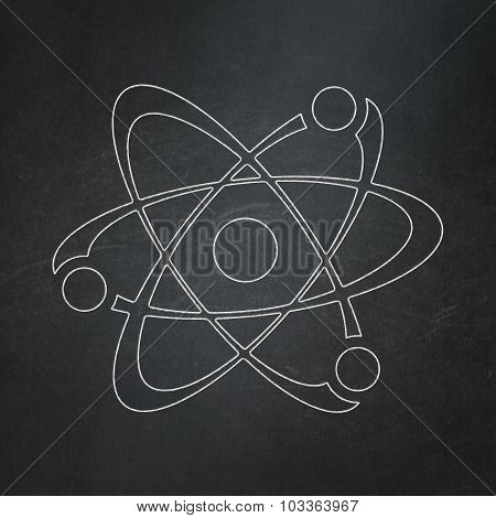 Science concept: Molecule on chalkboard background