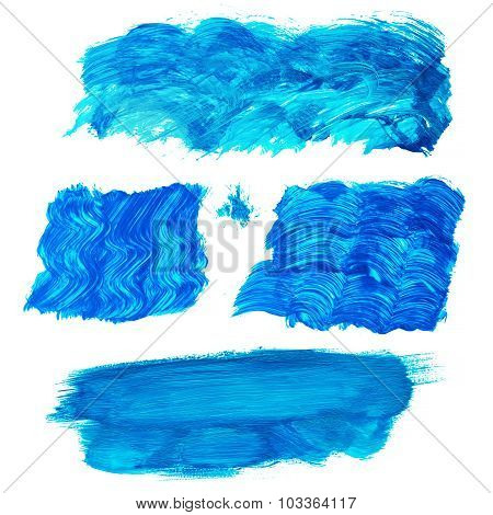 Colorful Acrylic Brush Strokes Isolated On White. Useful As Design Elements.