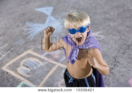 Boy Superhero With Mask And Cape