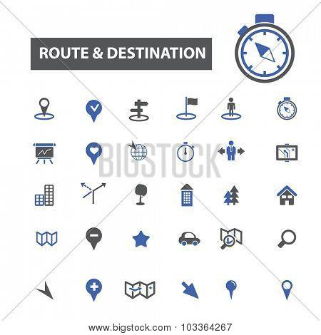 route, destination, map icons