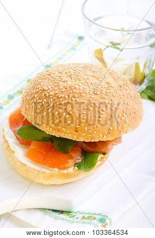 Salmon And Cream Bun Sandwich