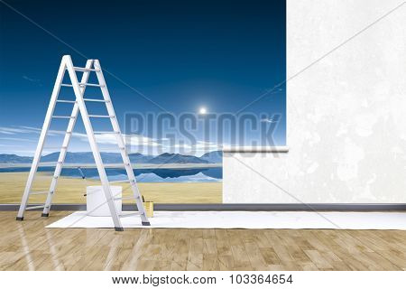 3d render of redecorate a room with a photo mural