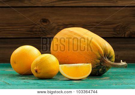 Sweet Butternut Squash, Orange And Lemon On Wooden Turquoise Table