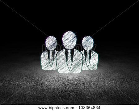 News concept: Business People in grunge dark room