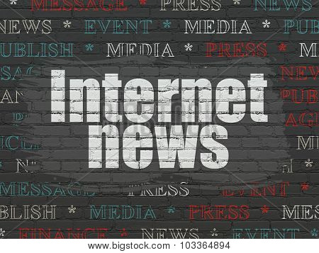 News concept: Internet News on wall background