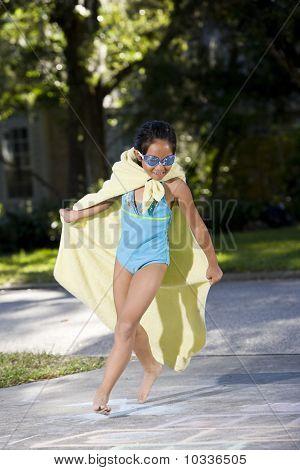 Make-believe, Girl In Homemade Superhero Costume