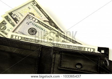 Money In  Wallet. Isolated.