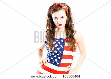 Pin Up Girl Wrapped In American Flag