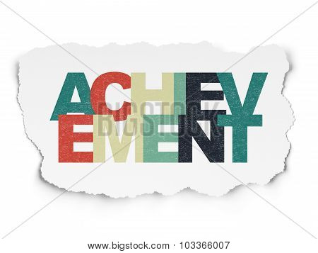 Learning concept: Achievement on Torn Paper background